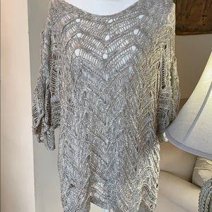 Eileen Fisher grey crocheted blouse 2X